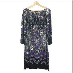 MUSE Purple Black Print Tunic Dress Sz 6